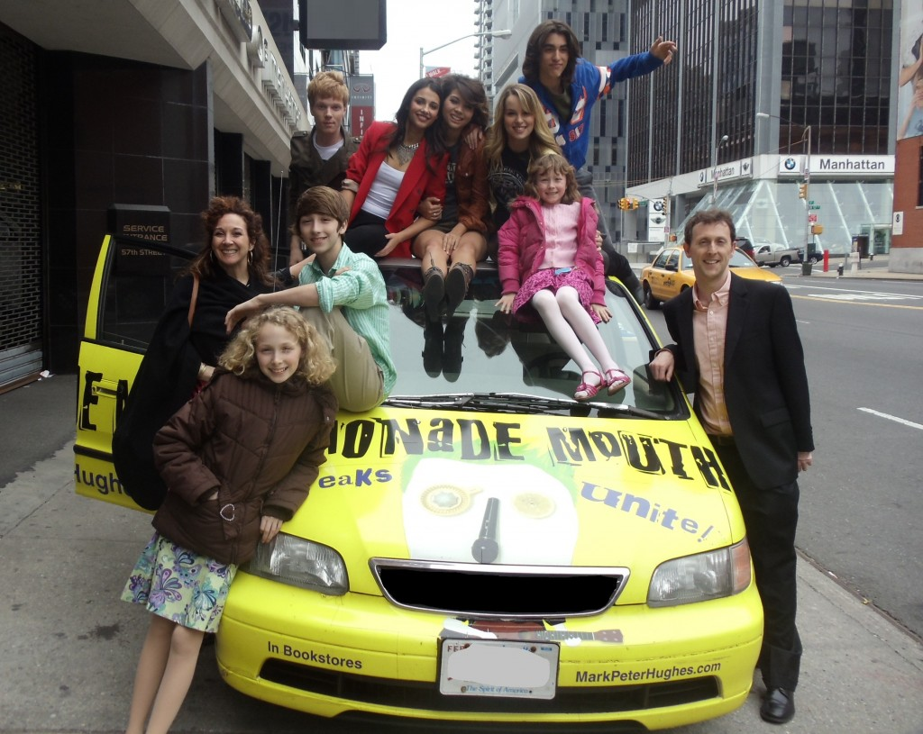 Lemonade Mouth cast with Mark Peter Hughes and Penelope the original LM car