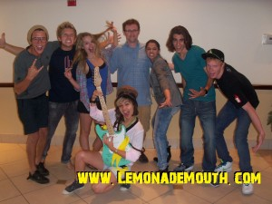 Lemonade Mouth Cast with LM author Mark Peter Hughes, during the filming of Lemonade Mouth, Summer 2010