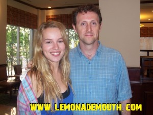 Bridgit Mendler with Lemonade Mouth author Mark Peter Hughes