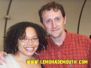 "Tisha Campbell-Martin (""Ms. Reznik"") with Lemonade Mouth author Mark Peter Hughes"