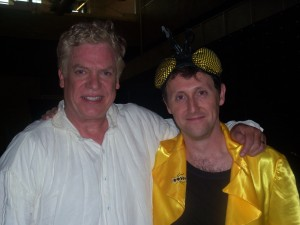 "Christopher McDonald ""Principal Brenigan"" with Lemonade Mouth author Mark Peter Hughes between takes while filming the LM Halloween scene, summer 2010"