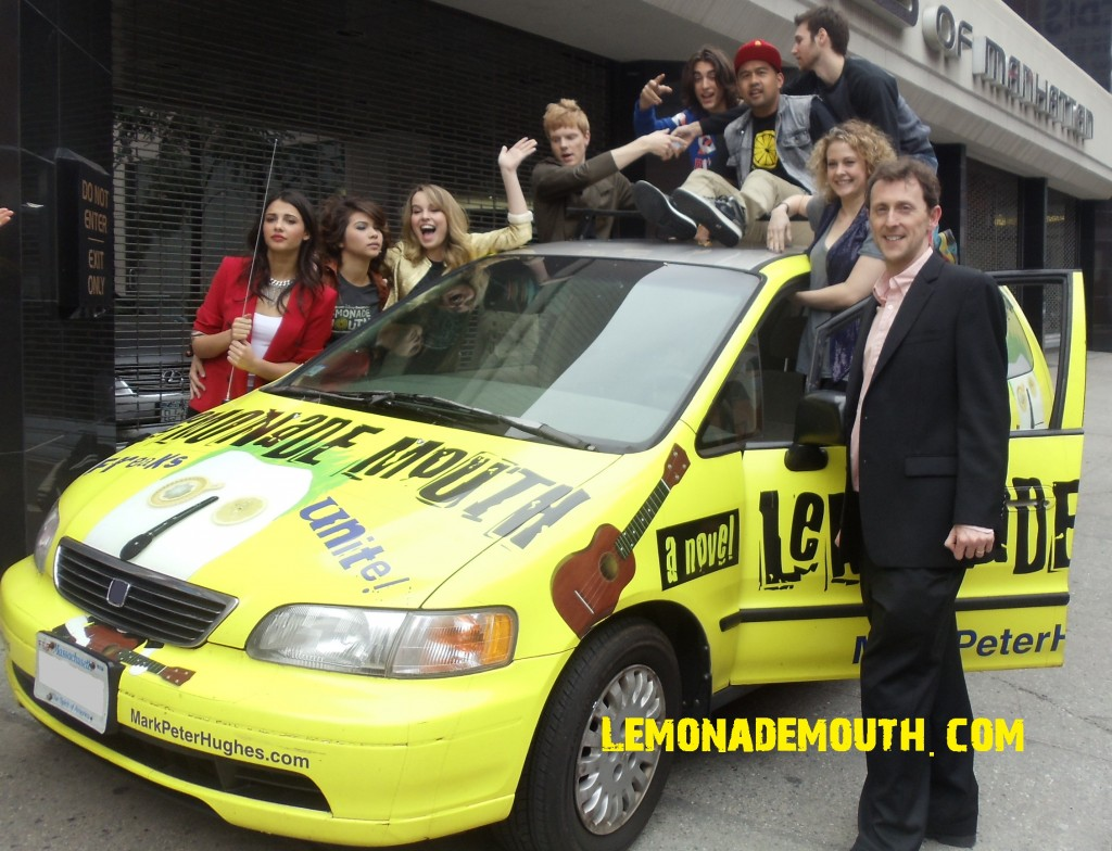 Author Mark Peter Hughes and the cast of Lemonade Mouth